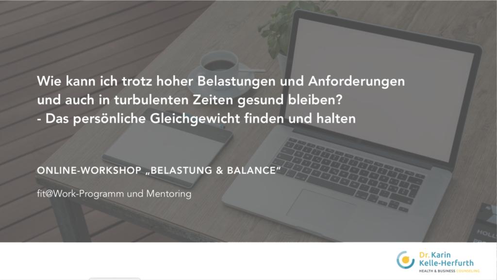 """Titelbild vom Online-Workshop """"Belastung & Balance"""""""