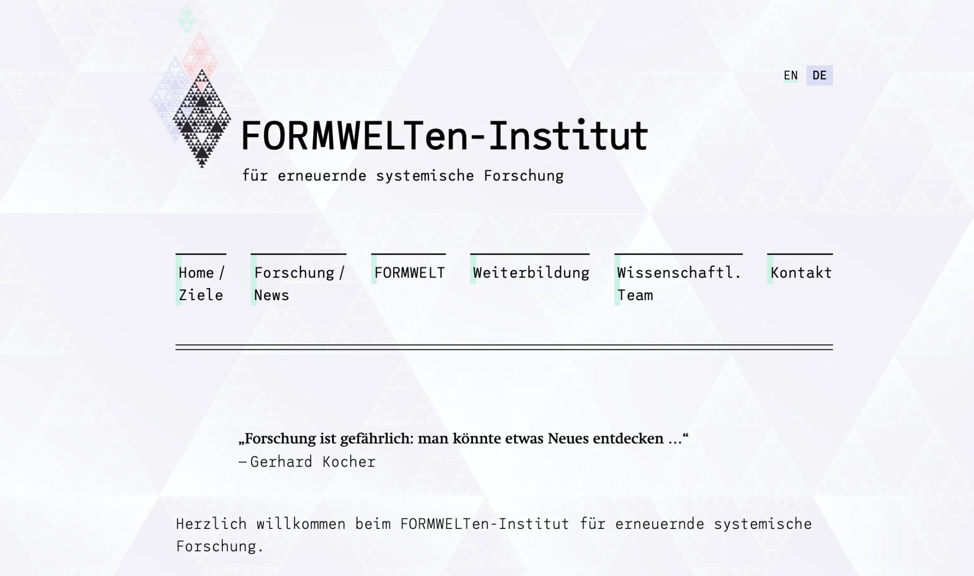 Screenshot der Website https://formwelten-institut.com/de